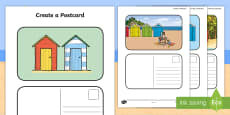 Create a Postcard Beach Hut Themed  Writing Template