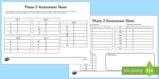 Phase 2 Phonics Letters and Sounds Assessment Sheets