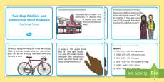 Two Step Addition and Subtraction Word Problem Challenge Cards