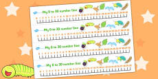 Number Lines 0-30 to Support Teaching on The Crunching Munching Caterpillar