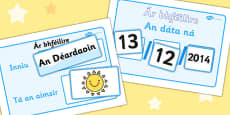 Daily Weather Calendar Weather Chart Short Date Format Gaeilge Translation