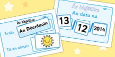Daily Calendar Weather Chart Gaeilge