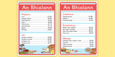 An Bhialann The Restaurant Role Play Menus Irish Gaeilge