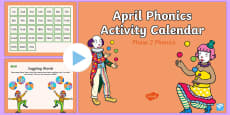 Phase 2 April Phonics Activity Calendar PowerPoint