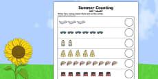 Summer Counting Activity Sheet Arabic Translation