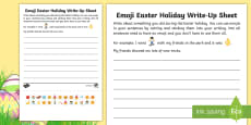 * NEW * KS1 Emoji Easter Holiday Write-Up Activity Sheet