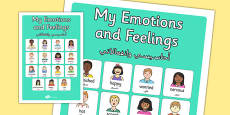 My Emotions and Feelings Vocabulary Poster Arabic Translation