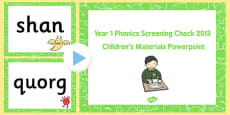 Year 1 Phonics Screening Check 2013 Children's Materials PowerPoint
