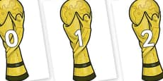 Numbers 0-100 on World Cup Trophy