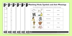 Hinduism Activity Sheet Matching Hindu Symbols and their Meanings