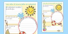 Summer Holiday Write Up Activity Sheet Spanish