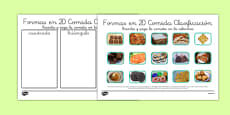 Actividad de clasificar las formas 2D La comida