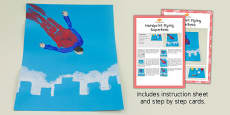 Handprint Flying Superhero Craft Instructions