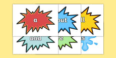 Comic Superhero High Frequency Words Cut Outs