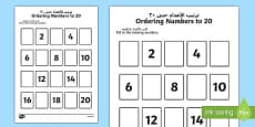 Missing Numbers to 20 Ordering Activity Arabic Translation