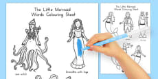 Australia - The Little Mermaid Words Colouring Sheet
