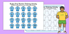 Rugby Strip Number Ordering Activity Polish Translation