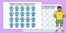 Rugby Strip Number Ordering Activity Polish Translation