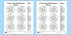 5 Times Table Multiplication Wheels Activity Sheet Pack