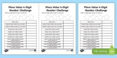 Place Value 4 Digit Number Challenge Activity Sheet