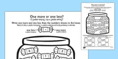 One More One Less Sweet Counting Activity Sheet Polish Translation