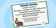 Remember, Remember Rhyme Display Poster Romanian Translation