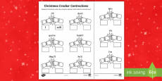 Christmas Cracker Contractions Activity Sheet