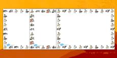Chinese New Year Animal Symbols Page Borders (Landscape)