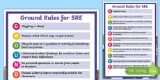 Sex and Relationships Education (SRE) Ground Rules Display Poster