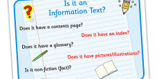 Text Types 'Is It An Information Text?' Display Poster