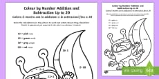 * NEW * Monsters Colour by Number Addition and Subtraction Up to 20 English/Italian