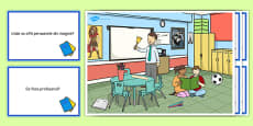 School Scene and Question Cards Romanian