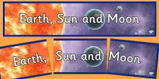 Earth Sun and Moon Display Banner