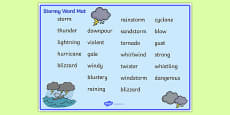 Weather and Seasons Stormy Word Mat