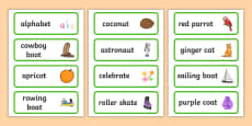 Three Syllable Final T Sound Word Cards