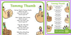 Tommy Thumb Nursery Rhyme Poster