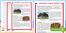 Christmas Around the World: New Zealand Differentiated Reading Comprehension Activity