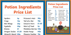 Magic Potion Ingredients Price List