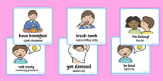 SEN Communication Cards Daily Routine Boy Polish Translation
