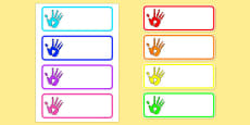 Handprint Drawer Peg Name Labels