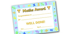Maths Award Certificate