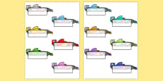 Editable Self Registration Labels (Racing Cars)