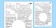 Father's Day Describing Words Drawing and Colouring Sheet