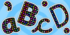 Multicoloured Star Themed Size Editable Display Lettering