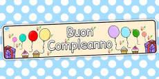 Italian Happy Birthday Display Banner