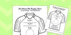 All About Me Rugby Shirt Activity Sheet Romanian Translation