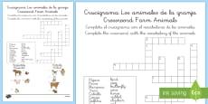 Crucigrama - animales de la granja