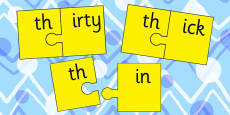 th and Vowel Production Jigsaw Cut Outs