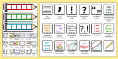 Editable Writing Target Cards Pencils