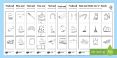 Find and Write Differentiated Activity Sheet Pack